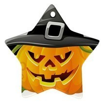 Star Ornaments - Halloween Bats Pumpkin Full Moon Star Ornaments Christmas  - $3.99