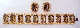 Vintage Topaz and Gold Rhinestone Demi Parure  J57-15 - €56,97 EUR