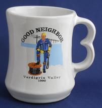 FRANKOMA Good Neighbor Verdgris Valley 1990 White Sand Cup Mug C9 Advert... - $24.95