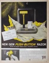 1958 Gem Push-button Razor Ad Awesome Vintage Advertisement - $4.99