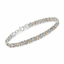 "7.8"" Hearts & Kisses Bracelet 14K Yellow White Two-Tone Gold Clad - $9.79"