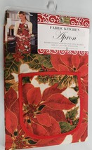 "Printed Kitchen Apron with Pocket, 23""x36"", CHRISTMAS RED FLOWERS,POINSE... - $14.84"