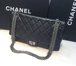 Authentic Chanel Classic 2.55 Reissue 227 Black Double Flap Bag SHW