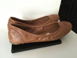 LUCKY BRAND SZ 7 BALLERINA FLATS LEATHER CAMEL NATURAL BROWN - $39.59
