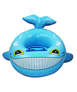 Inflatable Cartoon Children Water Taxis Toy Swim Ring with Handle    blu... - $12.99
