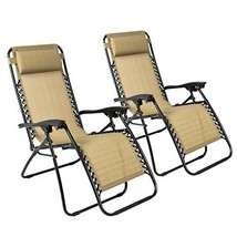 Zero Gravity Chairs Tan Folding Recliner Set Of 2 Patio Lounge Yard Outd... - $115.89