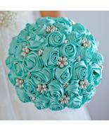 Custom Tiffany Blue Rose  Bridal Bride's Crystal Pearls Wedding Brooch B... - $55.00