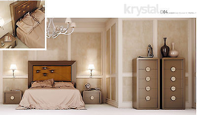 Krystal 04 Queen Size Bedroom Set Contemporary Modern Made in Spain