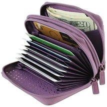RFID Identity Safe Double Zippered Wizard Wallet (Plum) - $23.38