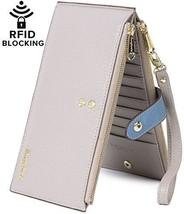 RFID Blocking Women's Leather Wallet Zip Card Case Purse - $67.01