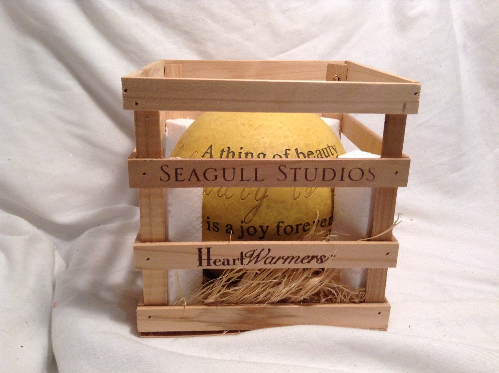 NEW Seagull Studios Heartwarmers Yellow Candle Holder w Wooden Crate