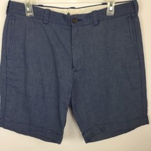 J Crew Mens sz 34 Chino Flat Front Blue Chambray Shorts Club Career Work - $24.70