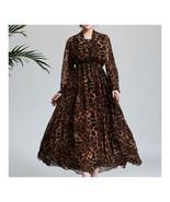 Dreamlike Chiffon Long Sleeve Fake 2pcs Suit Long Dress   leopard print  M - $33.29