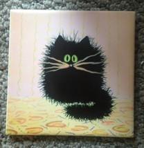 cranky cat tile Black Kitty Ceramic Trivet 6x6 More tiles available USA ... - $49.50