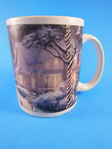 Festive 2008 Thomas Kinkade Hometown Christmas Memories Snow Coffee Cup Mug  - $7.91