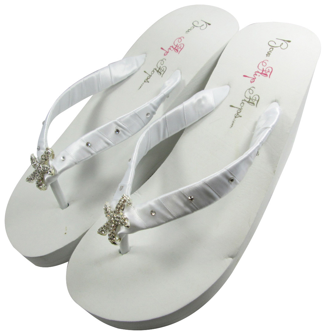 c01835909fba02 White High Wedge Starfish Wedding Flip Flops  Swarovski Crystal Rhinestone  Bling
