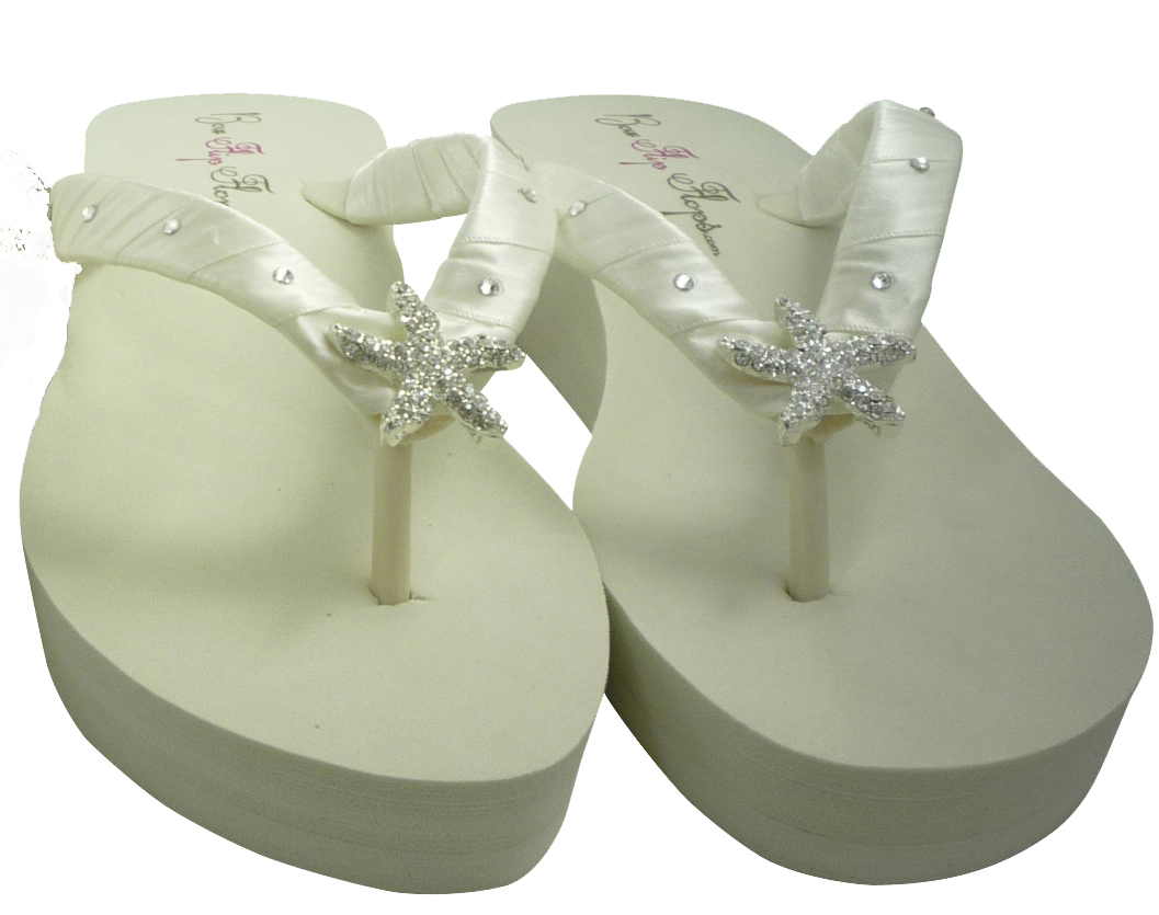 e85e1ad15 White High Wedge Starfish Wedding Flip Flops  Swarovski Crystal Rhinestone  Bling