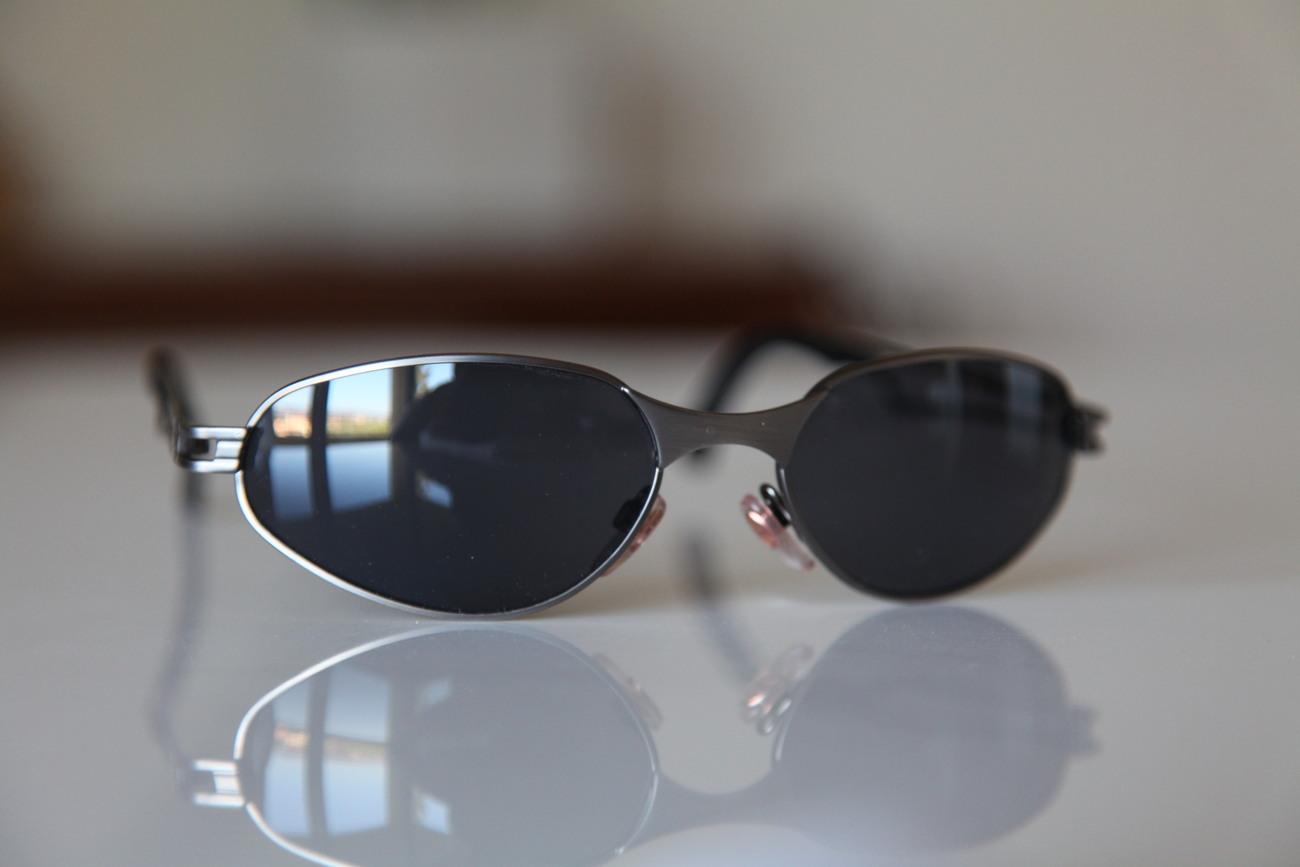 Vintage Cat Eye Sunglasses Steel Metal Gray/ Dark Lenses