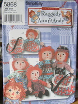 "Pattern 5868 Raggedy Ann & Andy 21"", with Cloth... - $4.99"
