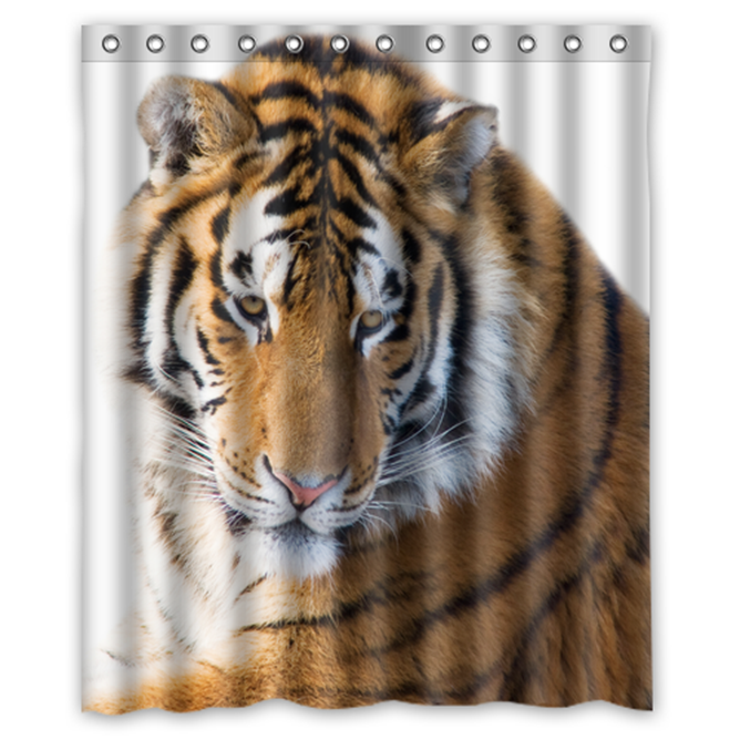 Angry Tiger Design #02 Shower Curtain Waterproof Made From Polyester