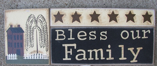 GJHA0555B-Bless our Family  Primitive Wood Sign