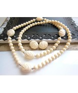 Vintage Avon 'Carved Accent' Cream Bead Necklac... - $18.99