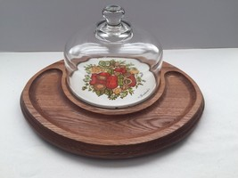 Vintage Goodwood Made in Japan Glass Dome Wooden Cheese & Crackers Tray ... - £18.01 GBP
