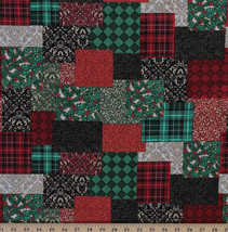 Cotton Christmas Elegance Patchwork-Look Holiday Fabric Print by the YD ... - $10.95