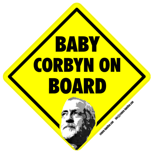 Baby Corbyn on Board self cling vinyl window sticker Jeremy Labour political TUC