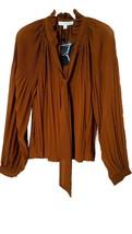 Women Long Sleeve Pleated Bow V-Neck Accordion Chiffon Blouse Top Shirt BRANDY S - $13.98