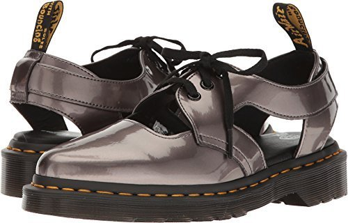 Dr. Martens Women's Genna Cut Out Sandals, Grey Spectra Patent Leather, 6 M UK,