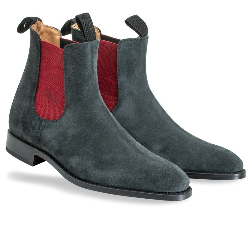 Handmade dark gray suede chelsea boot, Men ankle boot, Men genuine suede boot