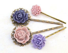 Mother day,Violet lilac purple,resin flower bobby pin,shabby chic head W... - $16.00