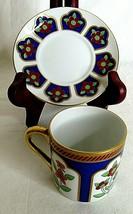 Demitasse Espresso Cup Saucer Fitz and Floyd Floral Blue Red Gold Tone Vintage  - $29.69