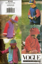 Vintage 1994 Child's Hats & Coats Vogue Pattern #9142 ALL SIZES UNCUT - $12.00