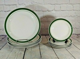 Vintage Gibson Houseware China 4-Dinner / 4-Side Green Band Plates - $39.59