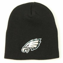 Philadelphia Eagles NFL Black Cuffless Winter Knit Beanie Hat Cap w/ Logo - $14.99