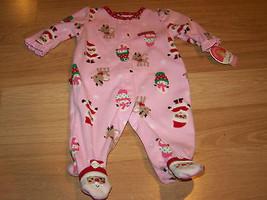 Infant Size 0-3 Months Pink Holiday Fleece Footed Sleeper Santa Deer Sno... - $12.00