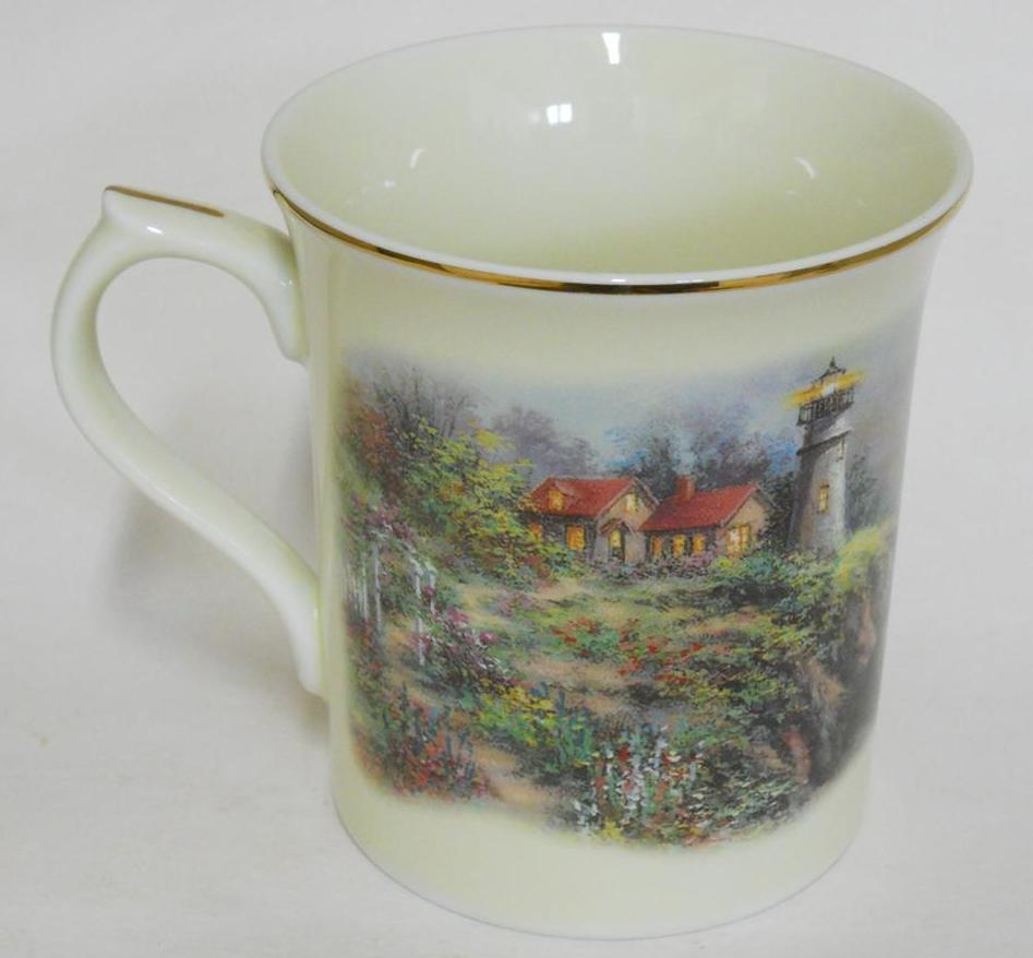 Primary image for LENOX ~ Footprints Collector Mug ~ Cup by Nicky Boehme ~ Lighthouse w Gold Trim