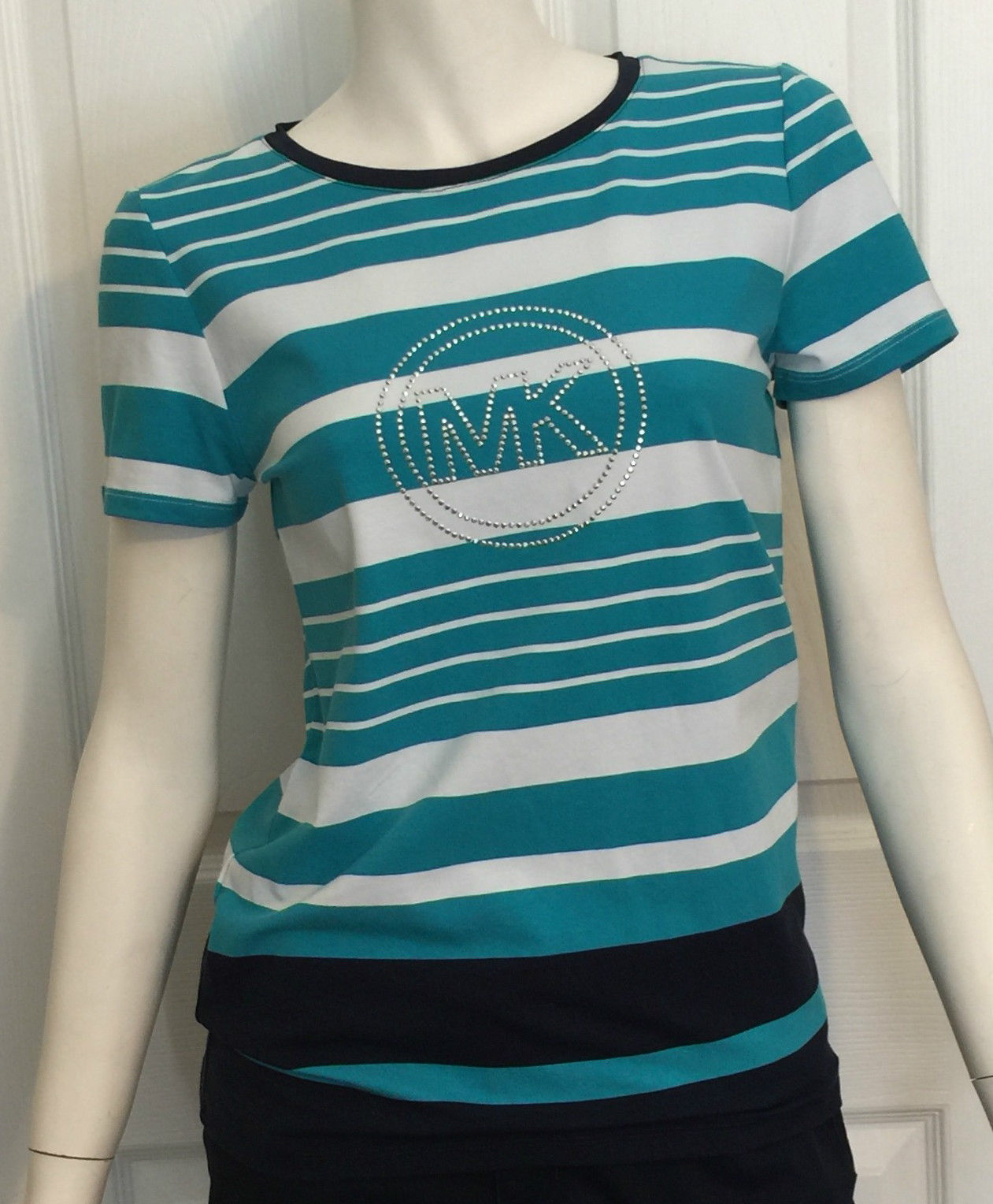 NWT Authentic Michael Kors Striped Top Size Small Navy Teal White