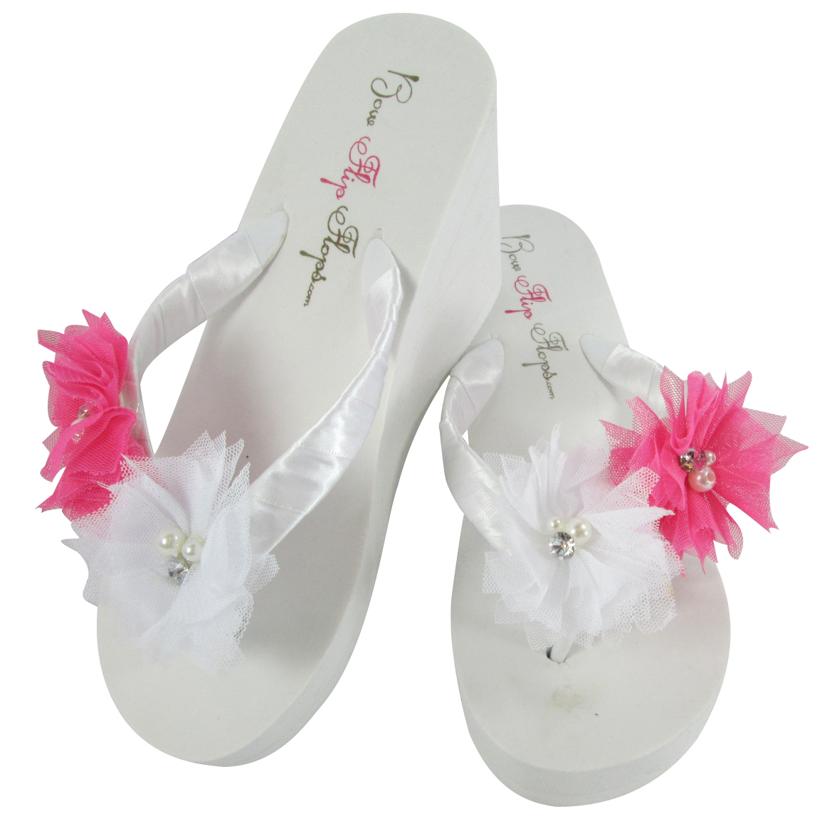 Hot Pink Flower Wedding Flip Flops Tulle And 40 Similar Items