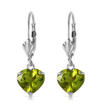 3.25 Carat 14K Solid White Gold Leverback Earrings Natural Peridot - $177.42