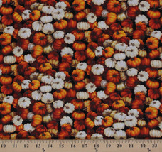 Cotton Autumn Romance Packed Fall Pumpkins Fabric Print by the Yard D513.03 - $9.95