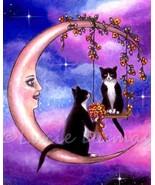 Art print 8x10 Cat 586 tuxedo on moon fantasy p... - $14.99
