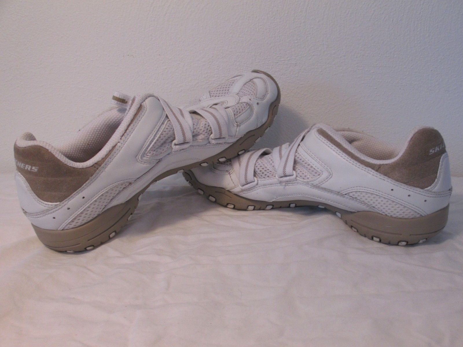 skechers white slip on hook loop leather fashion athletic