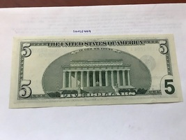 USA United States $5.00 banknote uncirculated 1999 #9 - $12.95