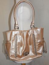 Kathy Van Zeeland Cream Beige Metallic Chain Silver Shoulder Purse Handbag - $23.96