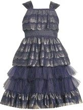 Big Girls Tween 7-16 Navy Blue Scallop Tier Mesh Social Party Dress