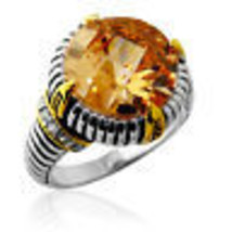 Fancy 15.46CT 925 Silver Antique Round Citrine Unique Design Ring 18K Go... - $107.91