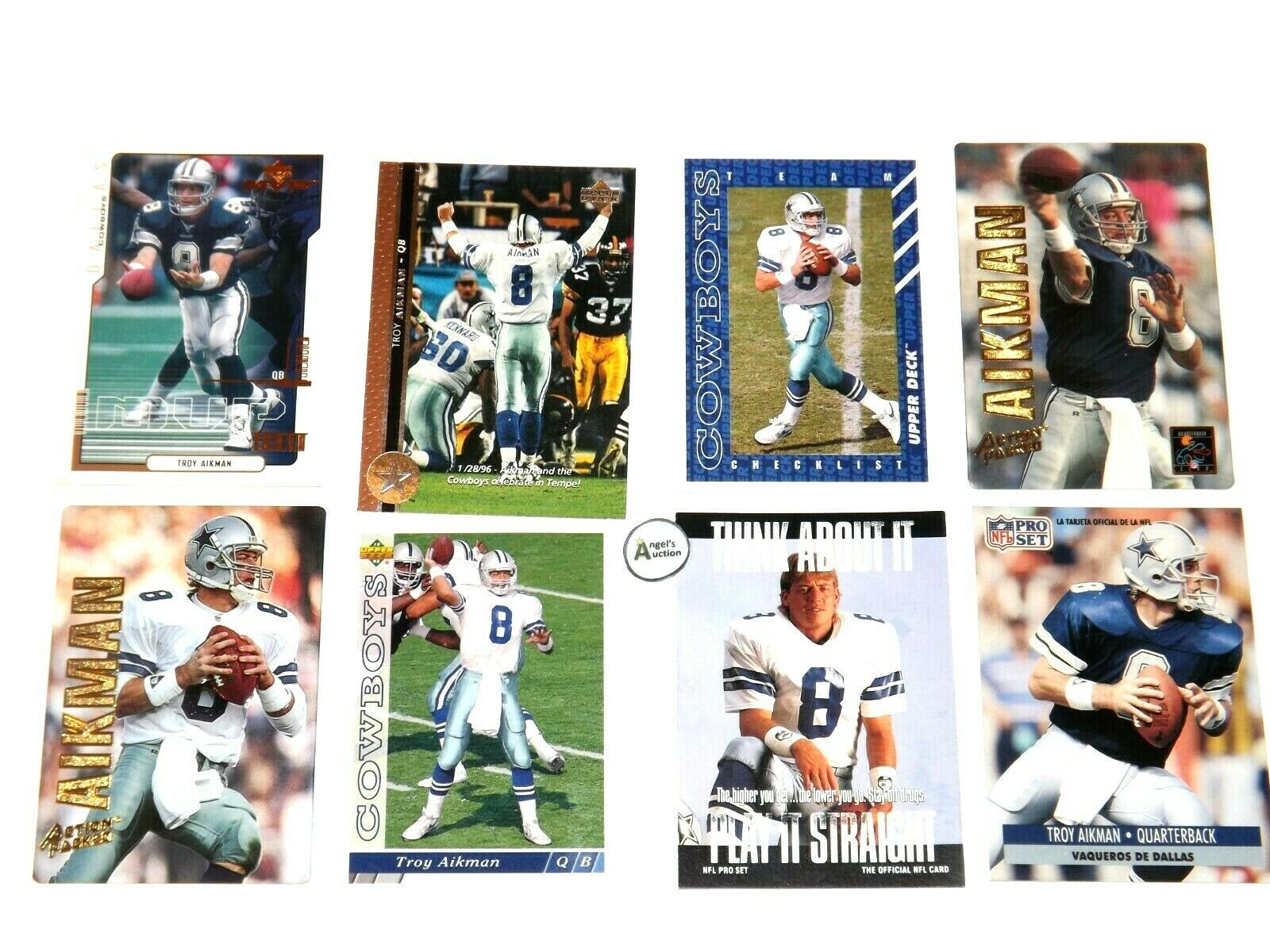 Troy Aikman #8 QB Dallas Cowboys Football Trading Cards AA-191702 Vintage Collec